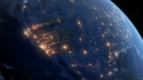 Fire And Smoke Covering Much of the West Coast of the USA. Satellite Night View. - stock footage