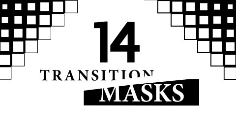 Transition Masks With Square Pattern. 14 Versions of Luma Mattes, Alpha Channels - stock footage