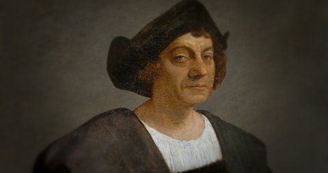 The Iconic Portrait of Christopher Columbus in Motion. - stock footage