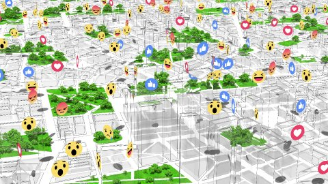 Social Network Likes, Reactions Icons Appear Above City Buildings. Loop. - stock footage