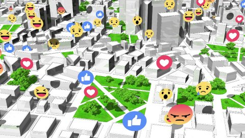 Social Network Likes, Reactions Icons in the City. Seamless Loop. - stock footage