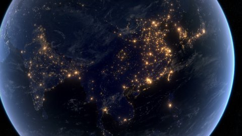 Blackout in Asia - stock footage