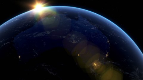Beautiful Sunset over Australia and New Zeland. City Lights at Night. - stock footage
