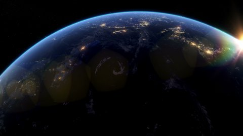 Beautiful Sunset over Asia. City Lights at Night. - stock footage