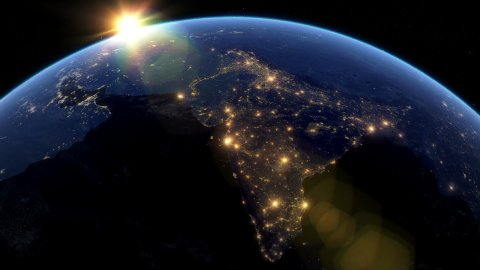 Beautiful Sunset over India. City Lights at Night. - stock footage