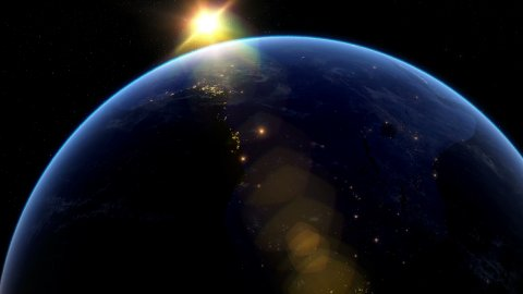 Beautiful Sunset over Africa. City Lights at Night. - stock footage