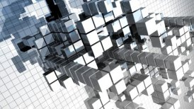 abstract construction made of cubes - motion graphic