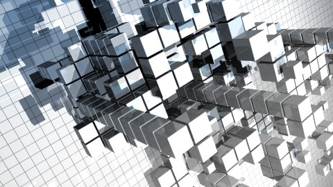 abstract construction made of cubes - stock footage