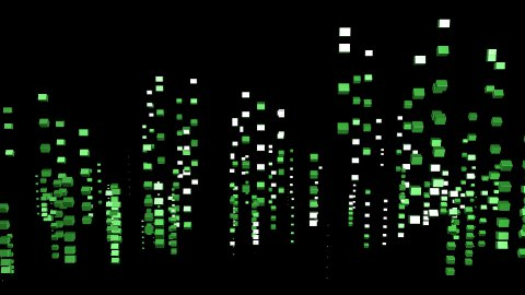 3D green boxes animated as matrix style - stock footage