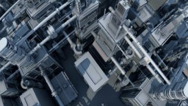 Futuristic buildings Bird view Camera fly over LOOPED - motion graphic