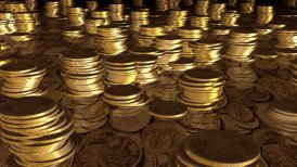 gold coins camera fly over  - motion graphic