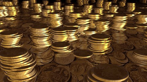gold coins camera fly over  - stock footage