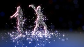 Particle girls dancing LOOPED - motion graphic