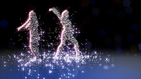 Particle girls dancing LOOPED - stock footage