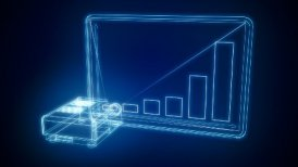 projector made of blue lines presents business chart - motion graphic