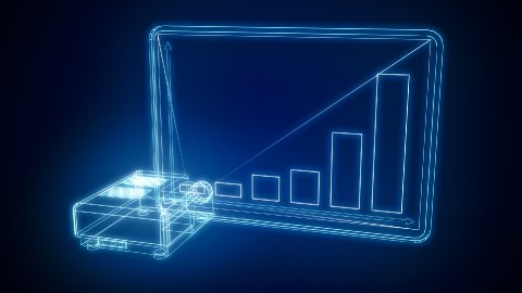 projector made of blue lines presents business chart - stock footage