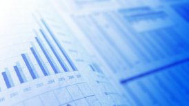 blue financial chart background LOOP with shallow depth of field - motion graphic