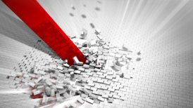 Red arrow destroys a wall - motion graphic
