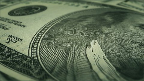 hundred dollar bills fly over and close up - stock footage