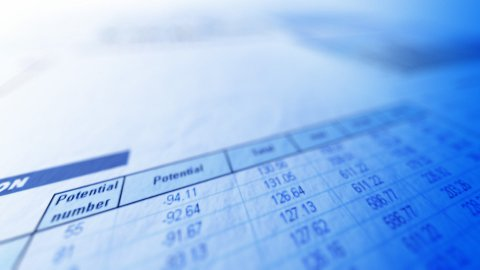 Business spreadsheet closeup with moving focal point - stock footage