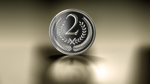 silver medal on reflective background - stock footage