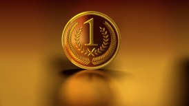 gold medal on reflective background - motion graphic