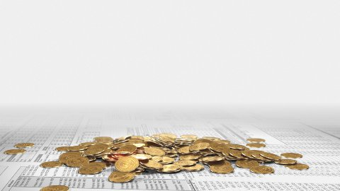 golden coins and growing plant on huge excel spreadsheet background - stock footage