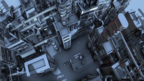 futuristic city bird view - stock footage