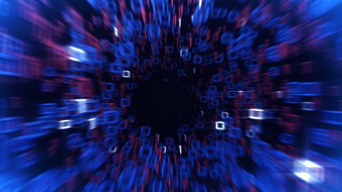 digital tunnel fast flight through the binary code - stock footage