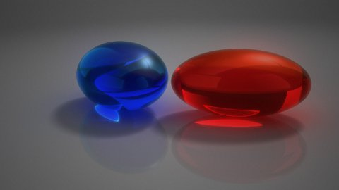 """Blue or red pill?""  - stock footage"