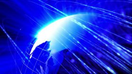 global communication blue background loop - motion graphic