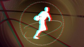 anaglyph basketball background loop - motion graphic