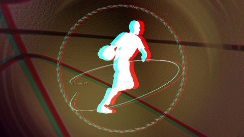 anaglyph basketball background loop - stock footage