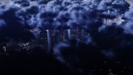 Cloudy city - editable clip, motion graphic, stock footage