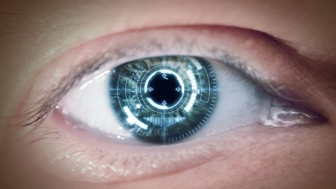 Eye of cyborg - stock footage