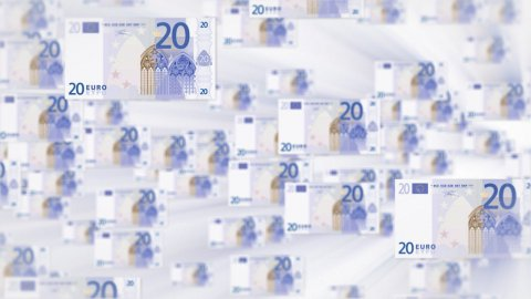 20 EURO bill flying - stock footage