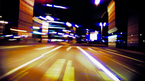 Night drive time lapse, stop to barrier - stock footage