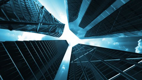 Corporate buildings, seamless loop, Alpha Channel - stock footage