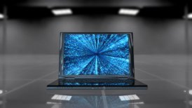 Laptop opening and rotating with matrix data flowing on the display - motion graphic