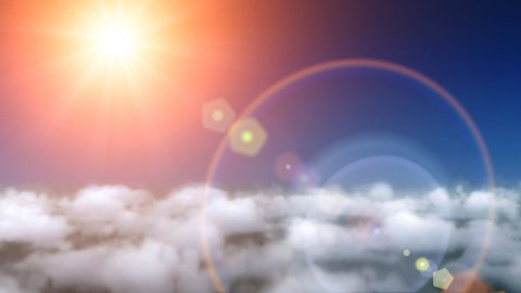 Clouds fly and lens flare - stock footage