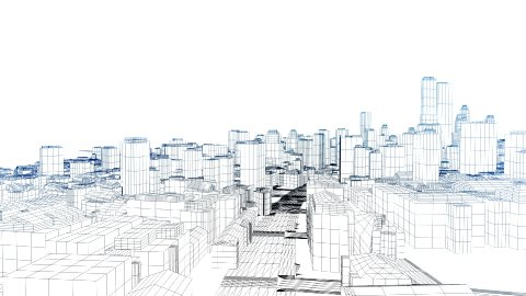 Flying in the sketched city on white - stock footage