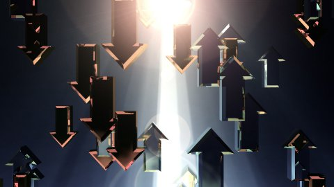Arrows with volume caustics, growth concept, Alpha - stock footage