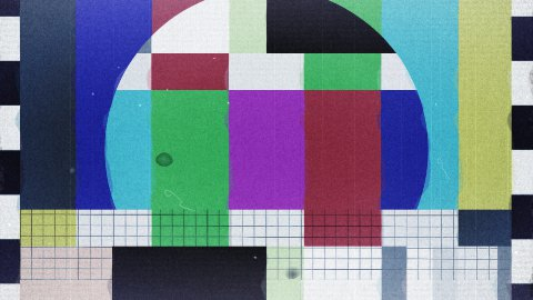 TV Test, noise, jitter and start transmission, loop - stock footage