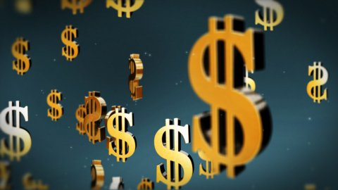 USD currency symbol flying - stock footage
