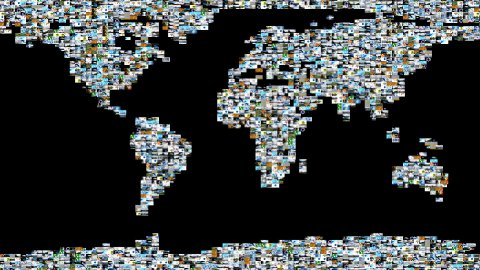 Photographs and Videos forming Earth Map - stock footage