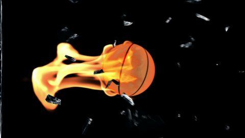 Basketbal on fire breaking glass with Alpha - stock footage