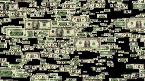 USD bills flying and forming Debt Word - stock footage