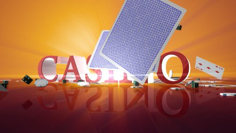 Casino text with chips dice and cards falling, Alpha Channel - stock footage