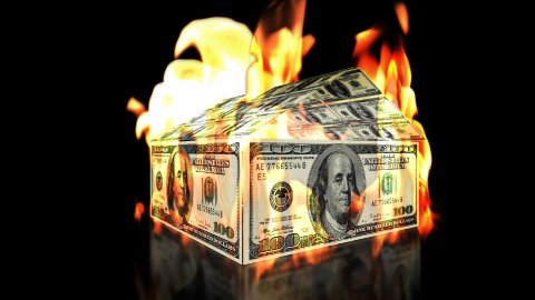 USD House on Fire, loop - stock footage