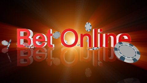 Bet Online text with casino chips falling,shine,Alpha Channel - stock footage
